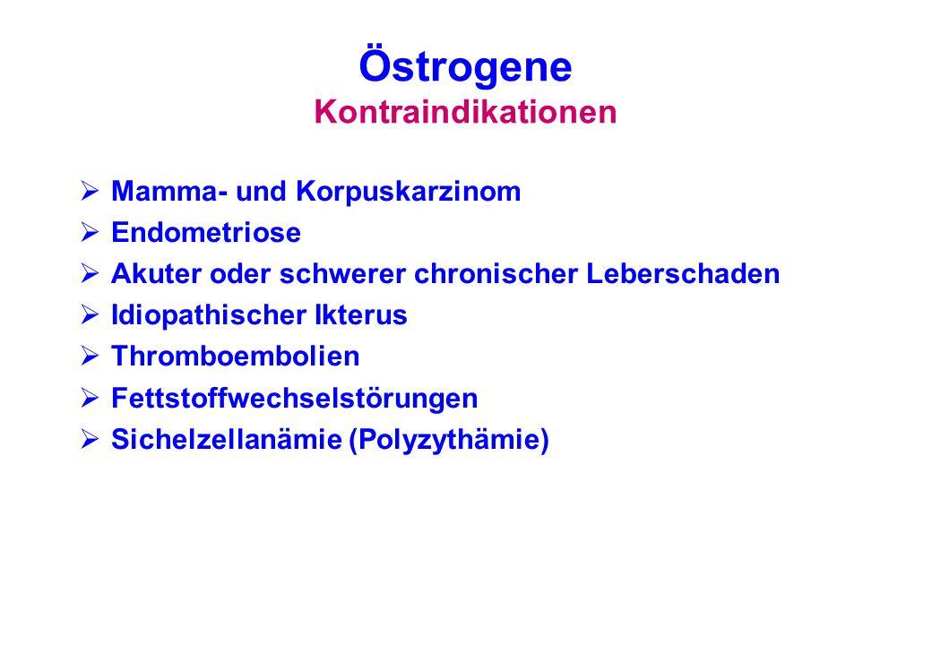 Östrogene Kontraindikationen Mamma- und Korpuskarzinom Endometriose Akuter oder schwerer chronischer Leberschaden Idiopathischer Ikterus Thromboemboli