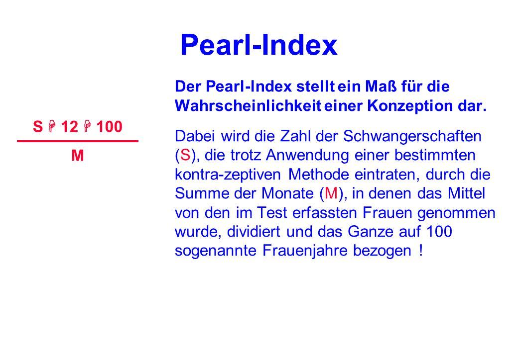 Pearl-Index Der Pearl-lndex stellt ein Maß für die Wahrscheinlichkeit einer Konzeption dar. Dabei wird die Zahl der Schwangerschaften (S), die trotz A