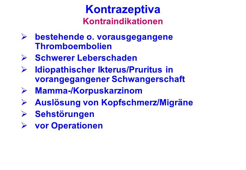 Kontrazeptiva Kontraindikationen bestehende o. vorausgegangene Thromboembolien Schwerer Leberschaden Idiopathischer Ikterus/Pruritus in vorangegangene