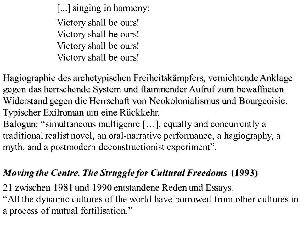 [...] singing in harmony: Victory shall be ours! Hagiographie des archetypischen Freiheitskämpfers, vernichtende Anklage gegen das herrschende System