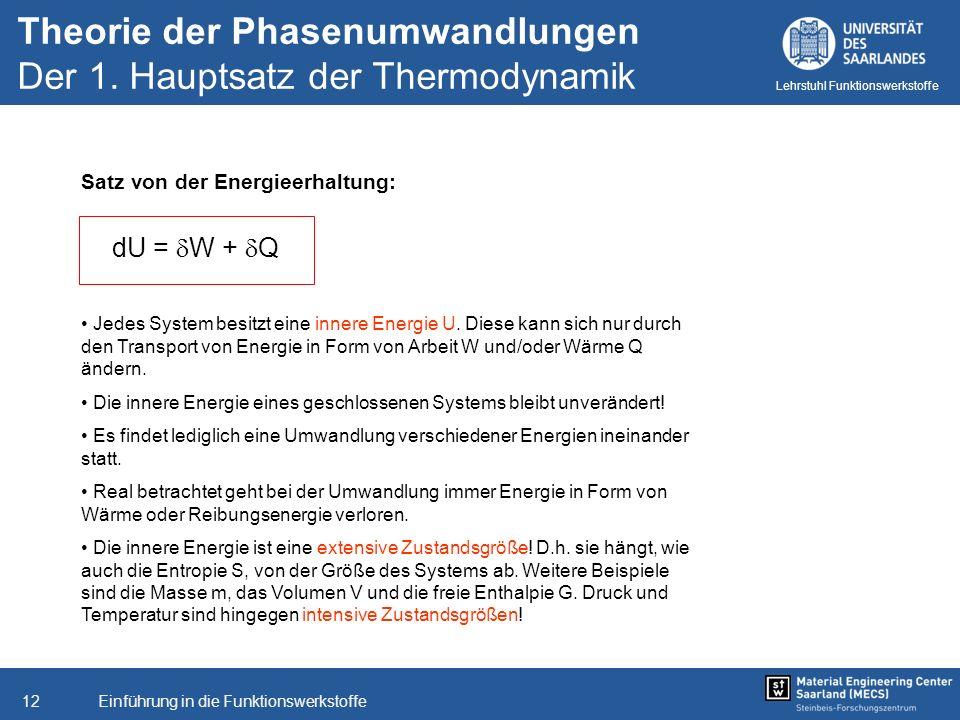 Einführung in die Funktionswerkstoffe12 Lehrstuhl Funktionswerkstoffe Satz von der Energieerhaltung: dU = W + Q Jedes System besitzt eine innere Energ