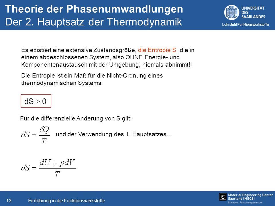 Einführung in die Funktionswerkstoffe13 Lehrstuhl Funktionswerkstoffe Es existiert eine extensive Zustandsgröße, die Entropie S, die in einem abgeschl