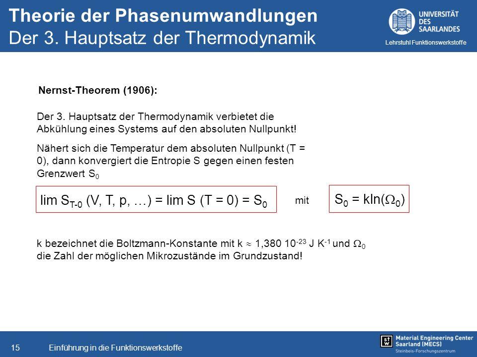Einführung in die Funktionswerkstoffe15 Lehrstuhl Funktionswerkstoffe Nernst-Theorem (1906): Der 3. Hauptsatz der Thermodynamik verbietet die Abkühlun