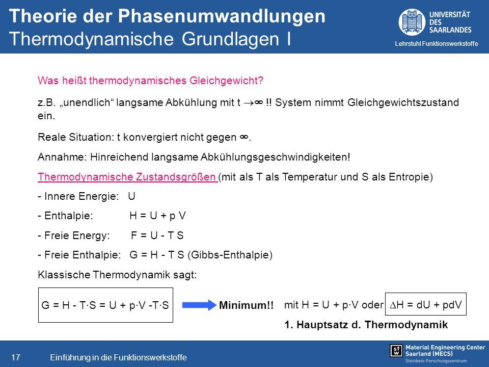 Einführung in die Funktionswerkstoffe17 Lehrstuhl Funktionswerkstoffe Was heißt thermodynamisches Gleichgewicht? z.B. unendlich langsame Abkühlung mit