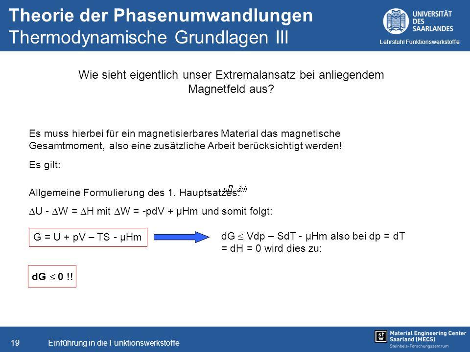 Einführung in die Funktionswerkstoffe19 Lehrstuhl Funktionswerkstoffe Wie sieht eigentlich unser Extremalansatz bei anliegendem Magnetfeld aus? Es mus