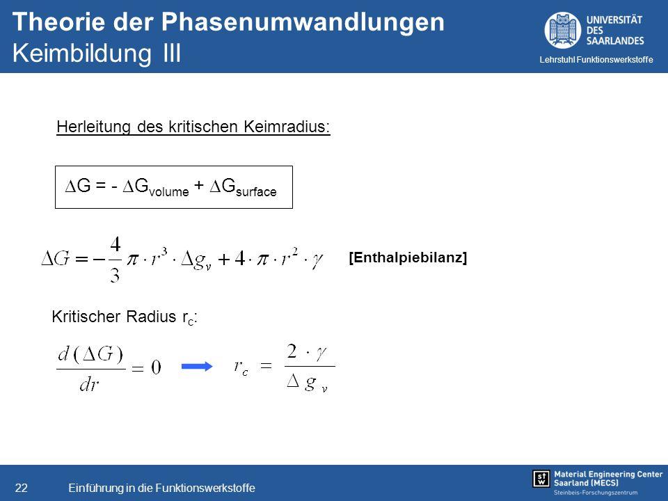 Einführung in die Funktionswerkstoffe22 Lehrstuhl Funktionswerkstoffe Theorie der Phasenumwandlungen Keimbildung III Herleitung des kritischen Keimrad