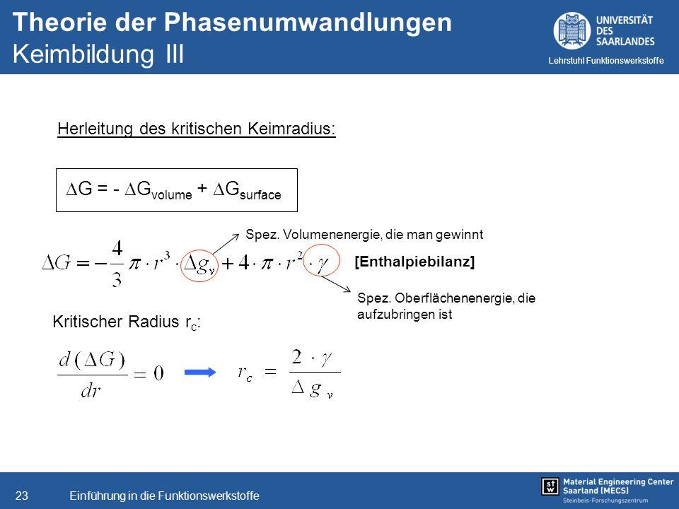 Einführung in die Funktionswerkstoffe23 Lehrstuhl Funktionswerkstoffe Theorie der Phasenumwandlungen Keimbildung III Herleitung des kritischen Keimrad