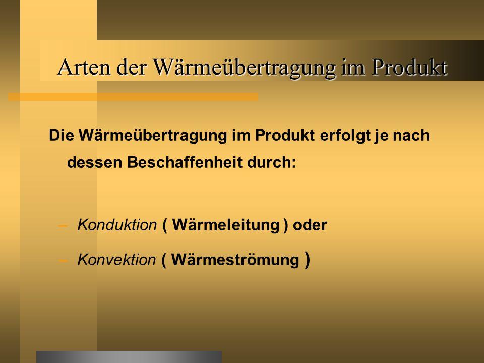 Arten der Wärmeübertragung im Produkt Die Wärmeübertragung im Produkt erfolgt je nach dessen Beschaffenheit durch: –Konduktion ( Wärmeleitung ) oder –