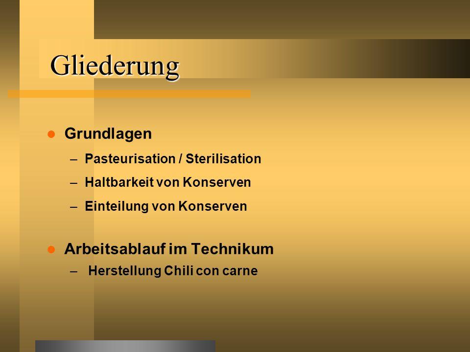 Gliederung Grundlagen –Pasteurisation / Sterilisation –Haltbarkeit von Konserven –Einteilung von Konserven Arbeitsablauf im Technikum – Herstellung Ch