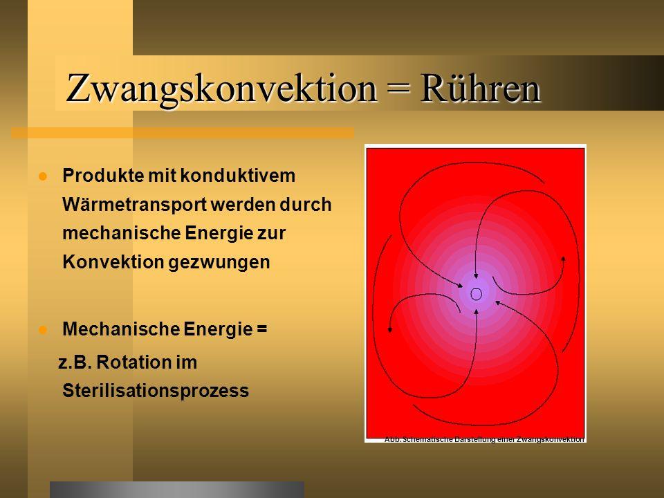 Zwangskonvektion = Rühren Produkte mit konduktivem Wärmetransport werden durch mechanische Energie zur Konvektion gezwungen Mechanische Energie = z.B.