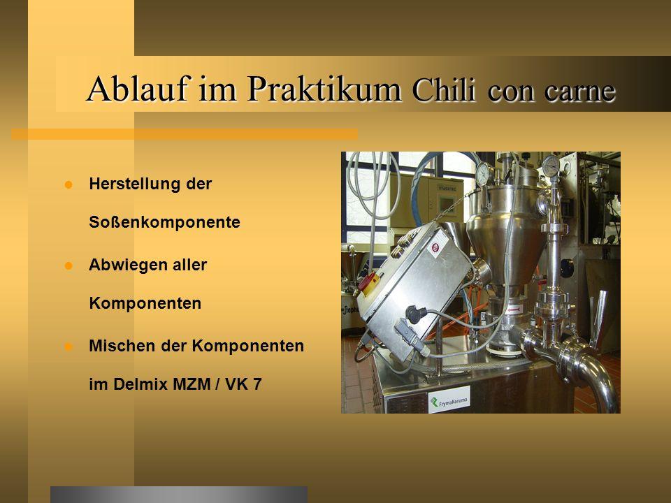 Ablauf im Praktikum Chili con carne Herstellung der Soßenkomponente Abwiegen aller Komponenten Mischen der Komponenten im Delmix MZM / VK 7