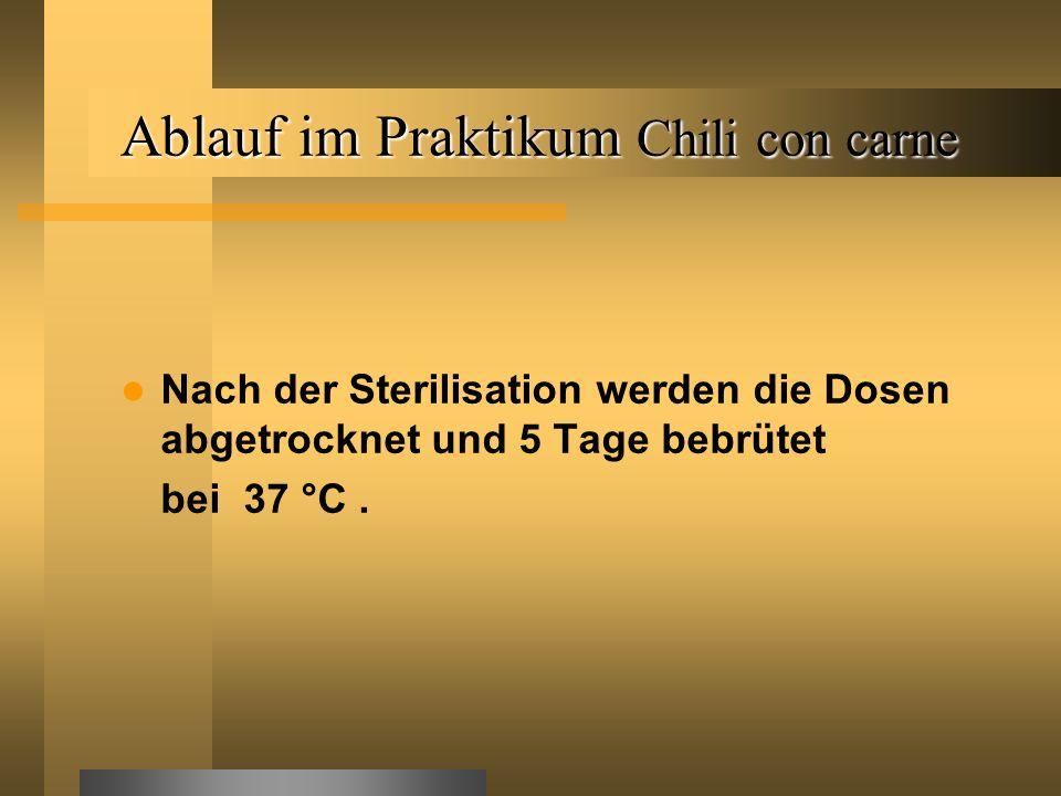 Nach der Sterilisation werden die Dosen abgetrocknet und 5 Tage bebrütet bei 37 °C.