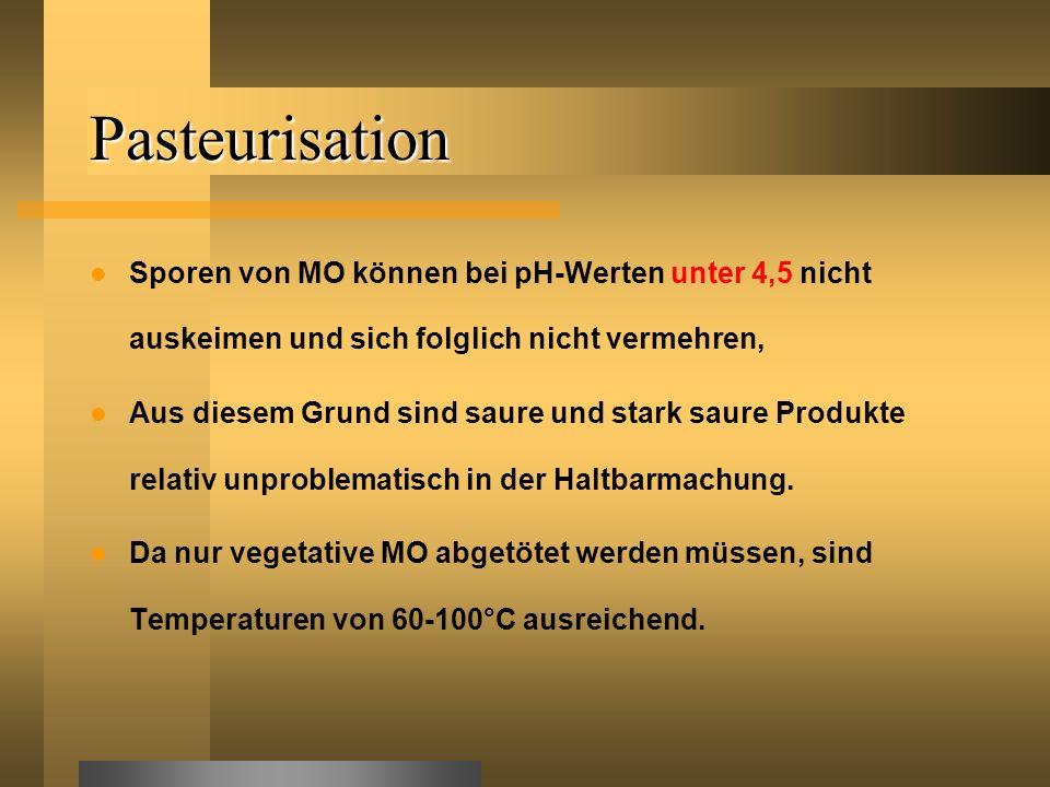 Pasteurisation Sporen von MO können bei pH-Werten unter 4,5 nicht auskeimen und sich folglich nicht vermehren, Aus diesem Grund sind saure und stark s