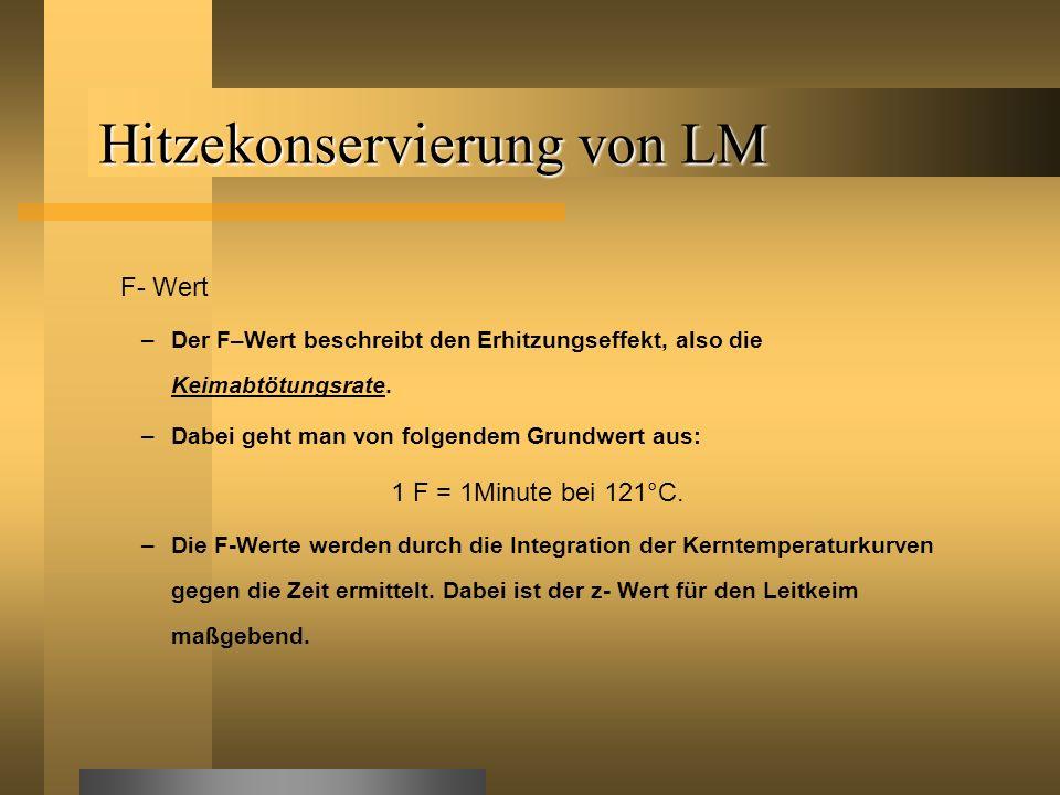 Hitzekonservierung von LM F- Wert –Der F–Wert beschreibt den Erhitzungseffekt, also die Keimabtötungsrate. –Dabei geht man von folgendem Grundwert aus