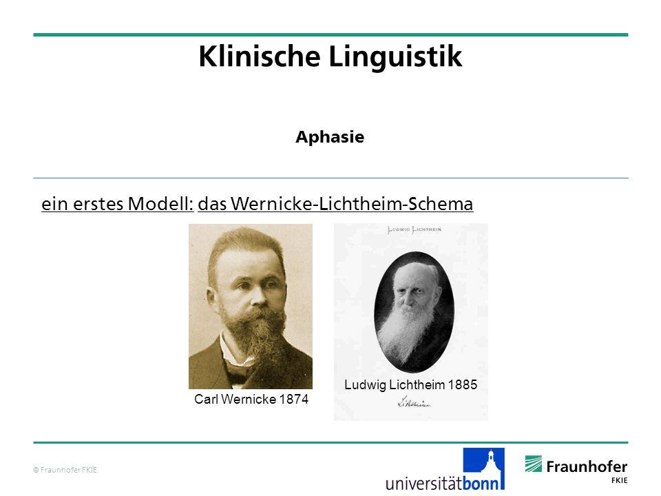 © Fraunhofer FKIE Klinische Linguistik ein erstes Modell: das Wernicke-Lichtheim-Schema Aphasie Carl Wernicke 1874 Ludwig Lichtheim 1885