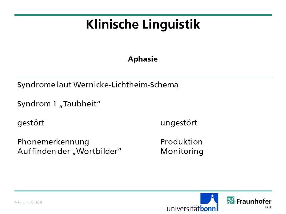 © Fraunhofer FKIE Klinische Linguistik Syndrome laut Wernicke-Lichtheim-Schema Syndrom 1 Taubheit gestörtungestört Phonemerkennung Produktion Auffinde