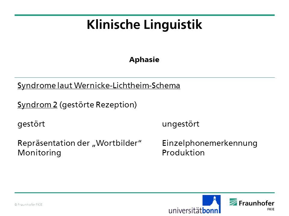 © Fraunhofer FKIE Klinische Linguistik Syndrome laut Wernicke-Lichtheim-Schema Syndrom 2 (gestörte Rezeption) gestörtungestört Repräsentation der Wort