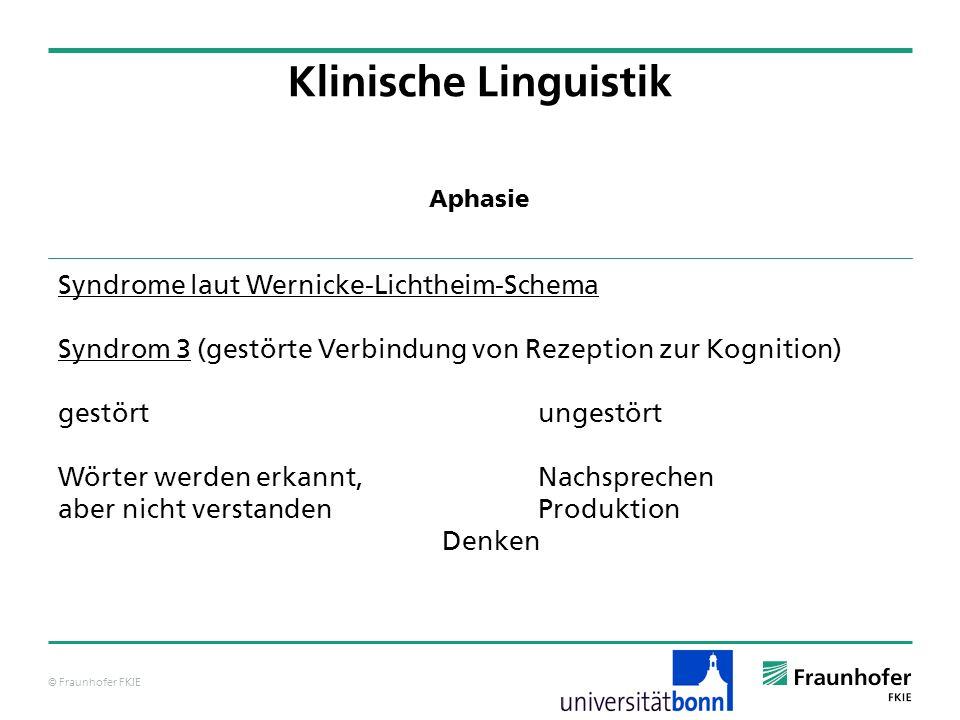 © Fraunhofer FKIE Klinische Linguistik Syndrome laut Wernicke-Lichtheim-Schema Syndrom 3 (gestörte Verbindung von Rezeption zur Kognition) gestörtunge