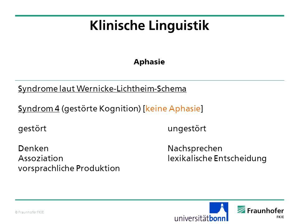 © Fraunhofer FKIE Klinische Linguistik Syndrome laut Wernicke-Lichtheim-Schema Syndrom 4 (gestörte Kognition) [keine Aphasie] gestörtungestört DenkenN