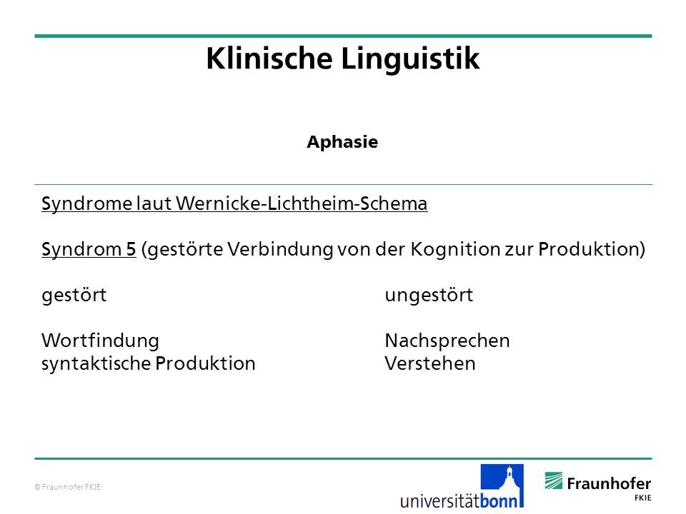 © Fraunhofer FKIE Klinische Linguistik Syndrome laut Wernicke-Lichtheim-Schema Syndrom 5 (gestörte Verbindung von der Kognition zur Produktion) gestör