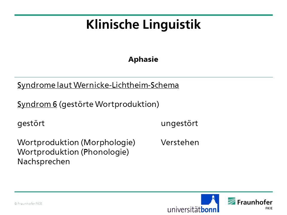 © Fraunhofer FKIE Klinische Linguistik Syndrome laut Wernicke-Lichtheim-Schema Syndrom 6 (gestörte Wortproduktion) gestörtungestört Wortproduktion (Mo