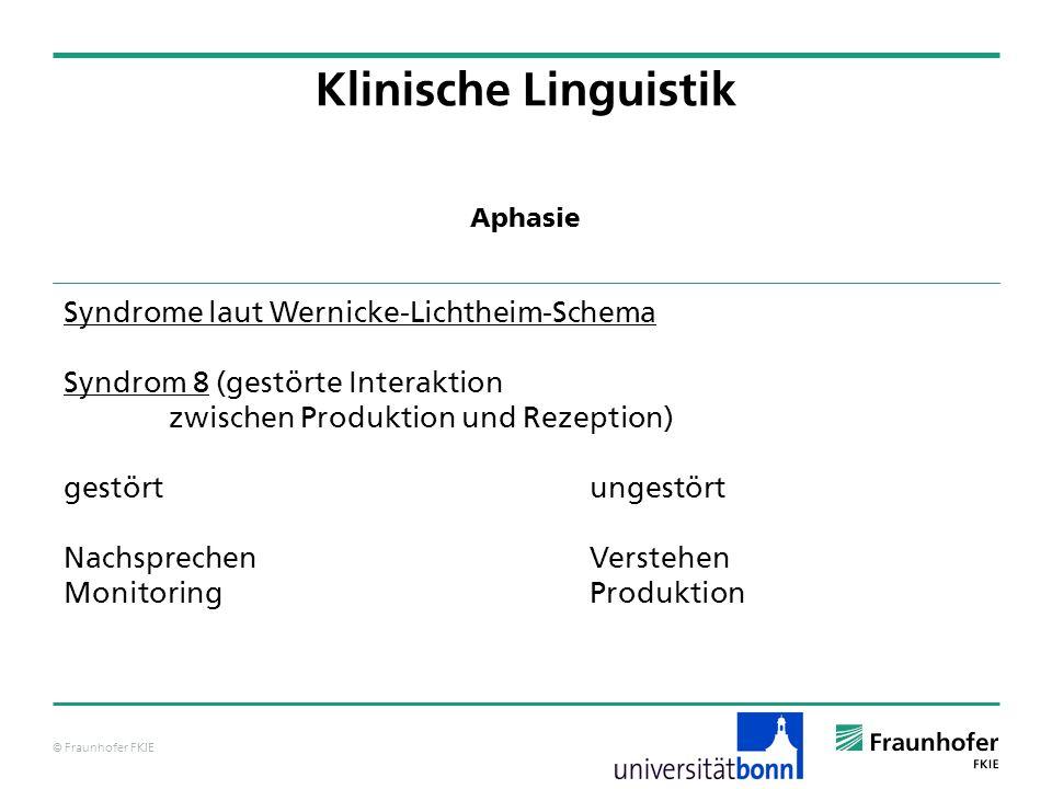 © Fraunhofer FKIE Klinische Linguistik Syndrome laut Wernicke-Lichtheim-Schema Syndrom 8 (gestörte Interaktion zwischen Produktion und Rezeption) gest