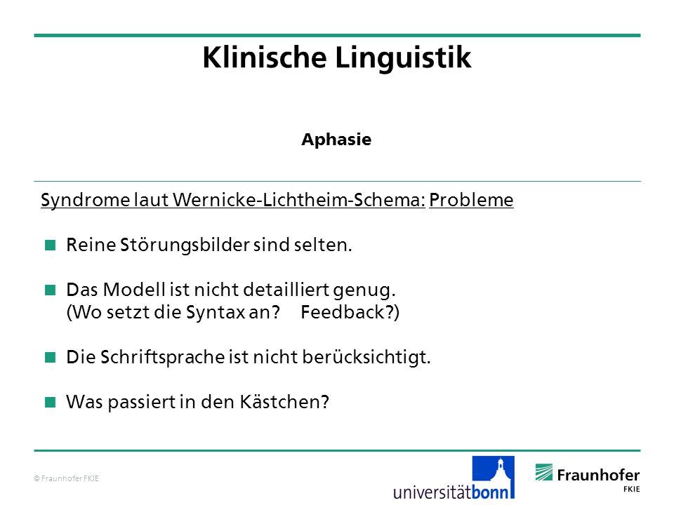 © Fraunhofer FKIE Klinische Linguistik Syndrome laut Wernicke-Lichtheim-Schema: Probleme Reine Störungsbilder sind selten. Das Modell ist nicht detail