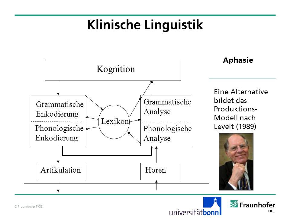 © Fraunhofer FKIE Klinische Linguistik Aphasie Lexikon Kognition Artikulation Grammatische Enkodierung Phonologische Enkodierung Phonologische Analyse