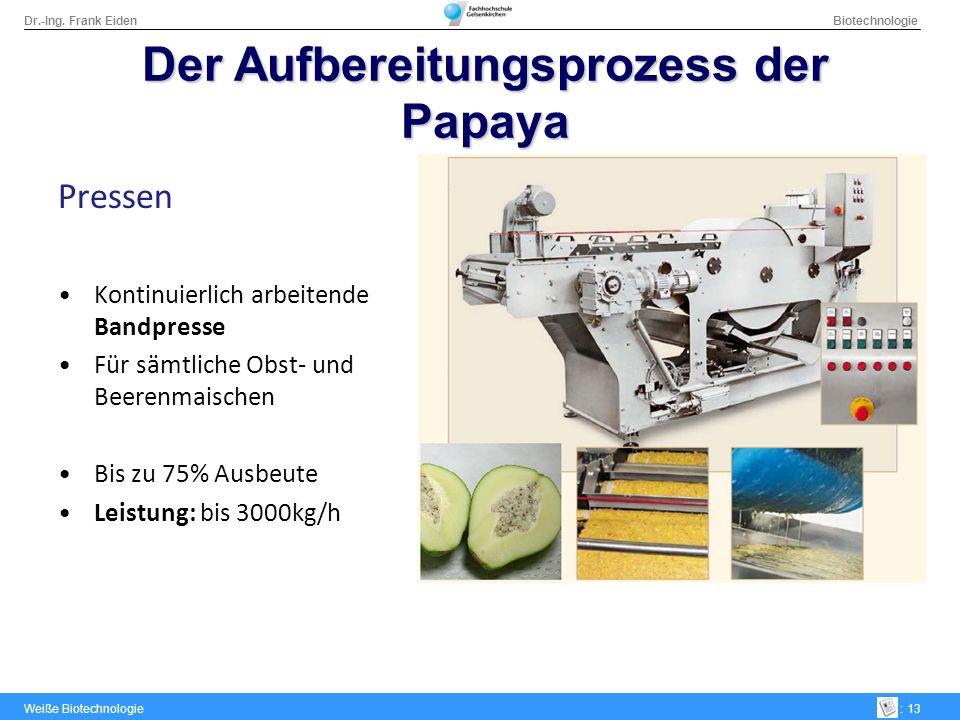 Dr.-Ing. Frank Eiden Biotechnologie Weiße Biotechnologie: 13 Pressen Kontinuierlich arbeitende Bandpresse Für sämtliche Obst- und Beerenmaischen Bis z