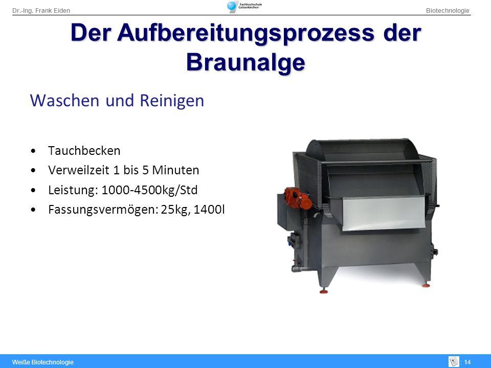 Dr.-Ing. Frank Eiden Biotechnologie Weiße Biotechnologie: 14 DerAufbereitungsprozess der Braunalge Der Aufbereitungsprozess der Braunalge Waschen und