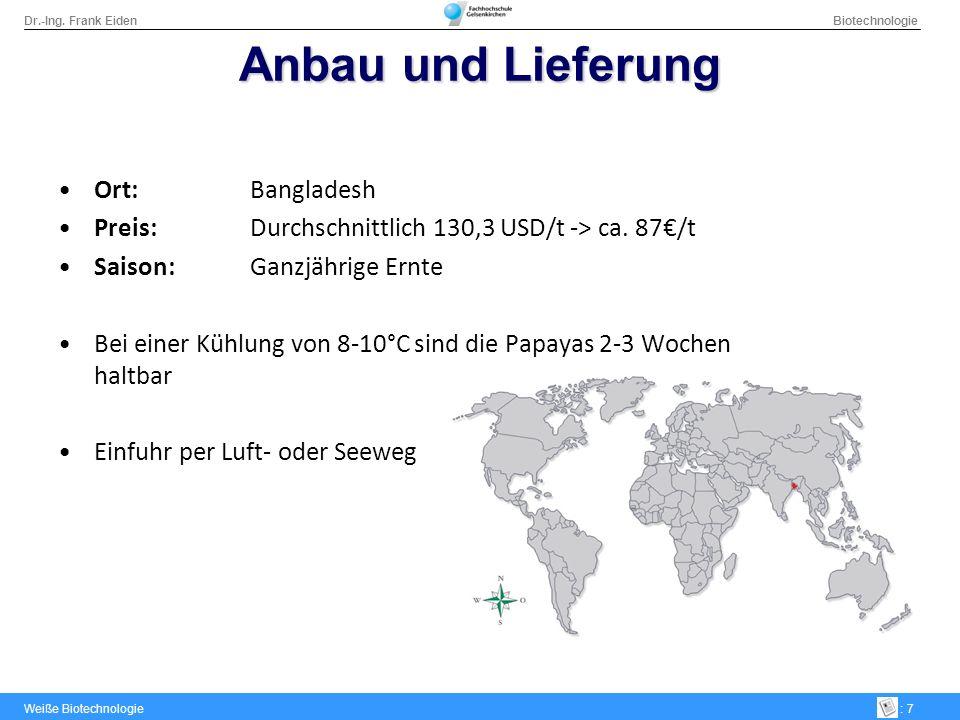 Dr.-Ing. Frank Eiden Biotechnologie Weiße Biotechnologie: 7 Anbau und Lieferung Ort:Bangladesh Preis: Durchschnittlich 130,3 USD/t -> ca. 87/t Saison: