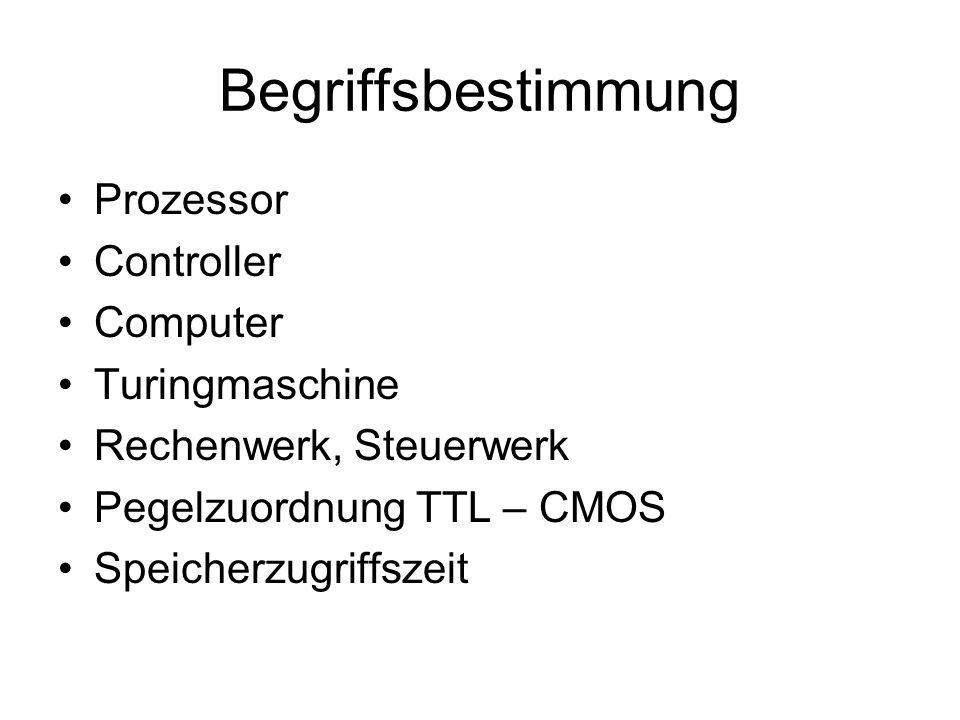 Begriffsbestimmung Prozessor Controller Computer Turingmaschine Rechenwerk, Steuerwerk Pegelzuordnung TTL – CMOS Speicherzugriffszeit