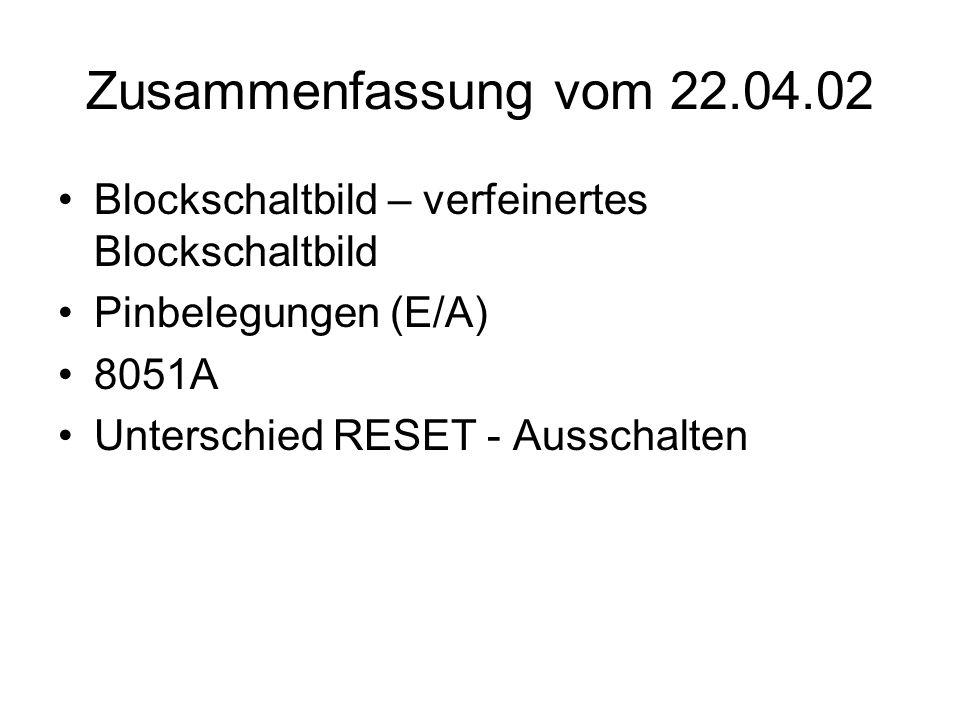 Zusammenfassung vom 22.04.02 Blockschaltbild – verfeinertes Blockschaltbild Pinbelegungen (E/A) 8051A Unterschied RESET - Ausschalten