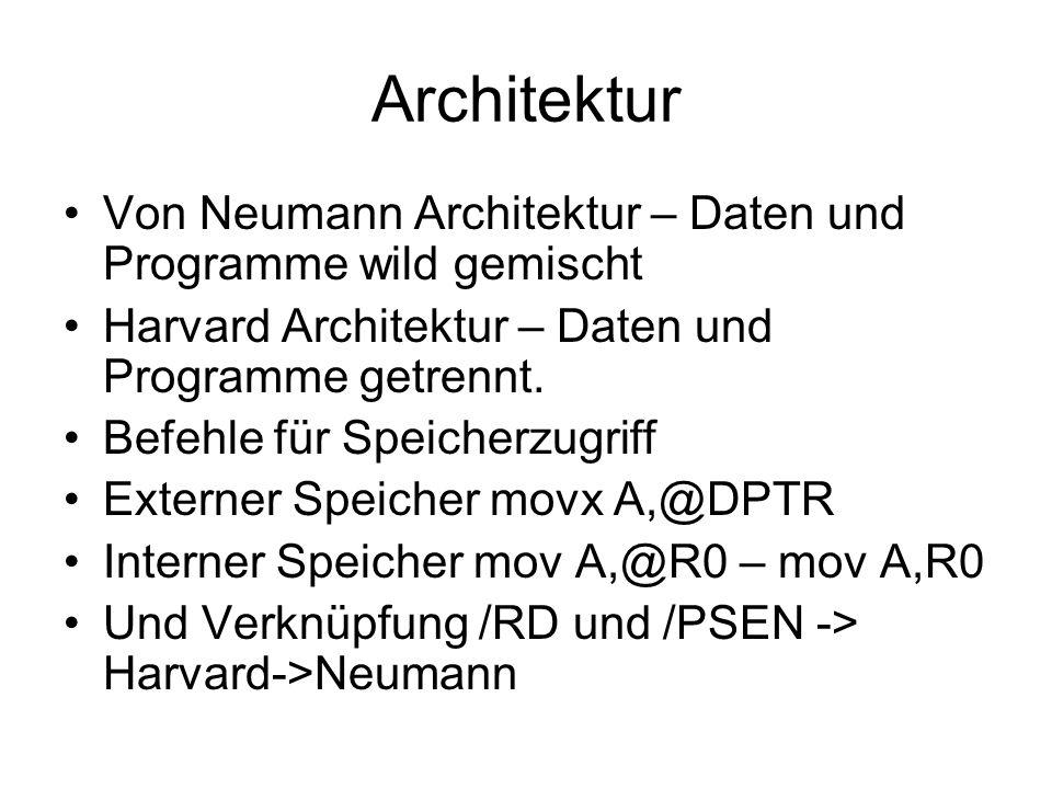Architektur Von Neumann Architektur – Daten und Programme wild gemischt Harvard Architektur – Daten und Programme getrennt. Befehle für Speicherzugrif