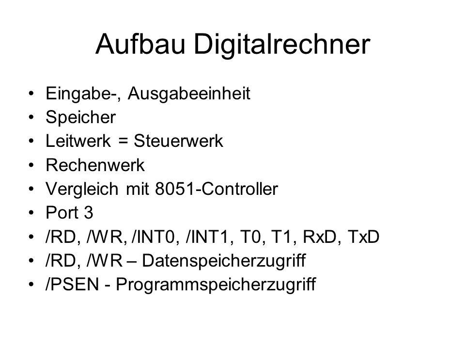 Aufbau Digitalrechner Eingabe-, Ausgabeeinheit Speicher Leitwerk = Steuerwerk Rechenwerk Vergleich mit 8051-Controller Port 3 /RD, /WR, /INT0, /INT1,