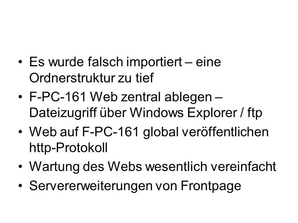 Es wurde falsch importiert – eine Ordnerstruktur zu tief F-PC-161 Web zentral ablegen – Dateizugriff über Windows Explorer / ftp Web auf F-PC-161 glob
