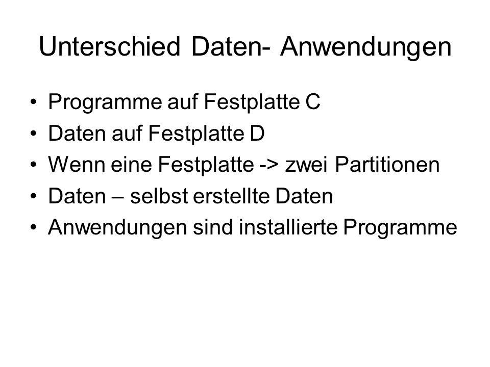 Unterschied Daten- Anwendungen Programme auf Festplatte C Daten auf Festplatte D Wenn eine Festplatte -> zwei Partitionen Daten – selbst erstellte Dat