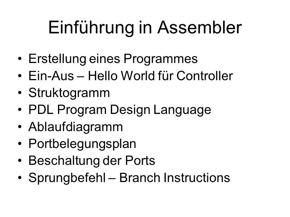 Einführung in Assembler Erstellung eines Programmes Ein-Aus – Hello World für Controller Struktogramm PDL Program Design Language Ablaufdiagramm Portb