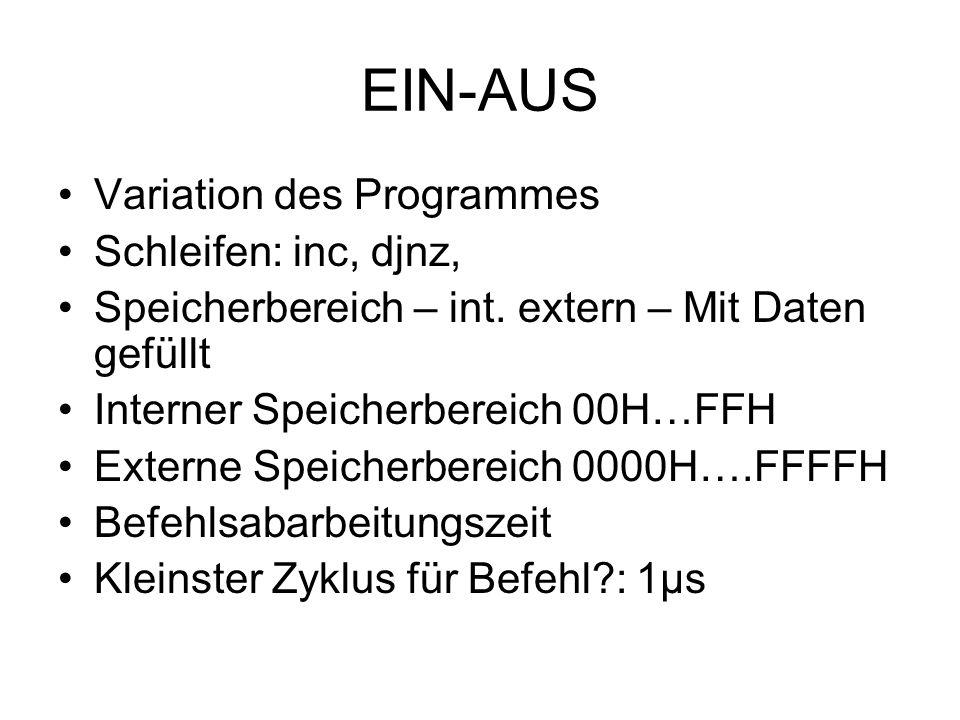 EIN-AUS Variation des Programmes Schleifen: inc, djnz, Speicherbereich – int. extern – Mit Daten gefüllt Interner Speicherbereich 00H…FFH Externe Spei