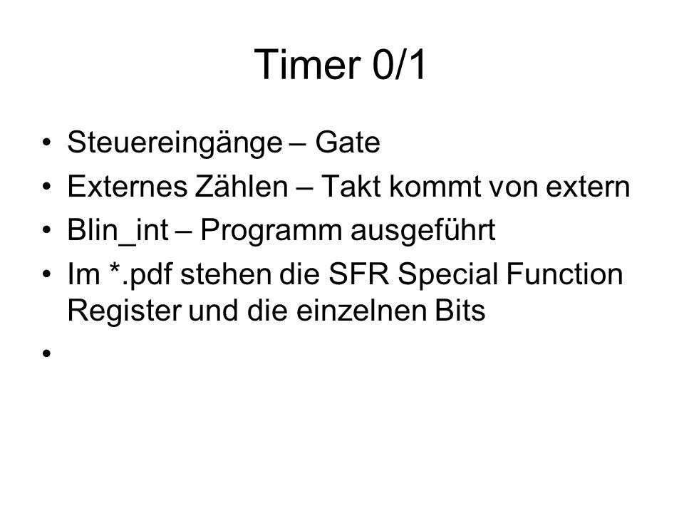 Timer 0/1 Steuereingänge – Gate Externes Zählen – Takt kommt von extern Blin_int – Programm ausgeführt Im *.pdf stehen die SFR Special Function Regist