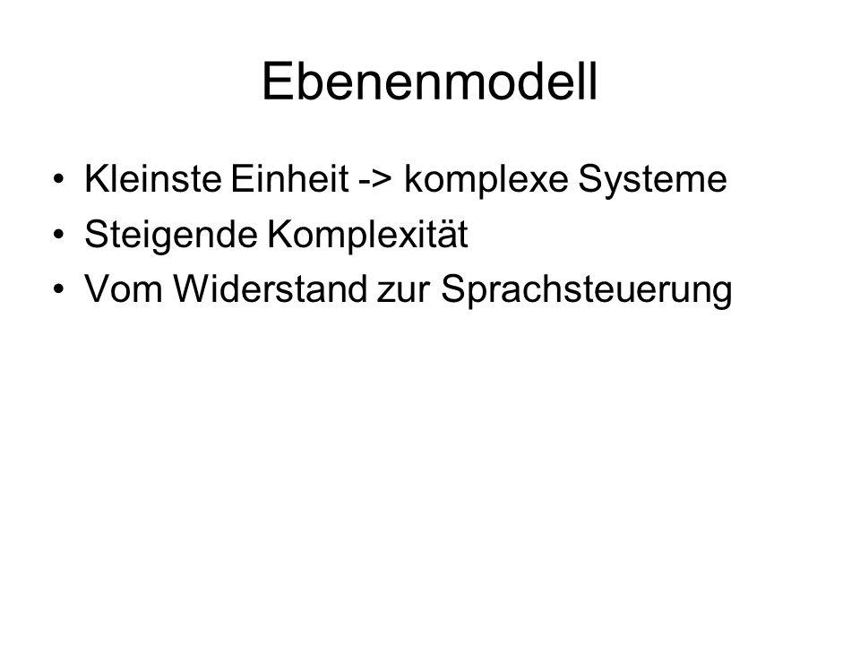 Ebenenmodell Kleinste Einheit -> komplexe Systeme Steigende Komplexität Vom Widerstand zur Sprachsteuerung