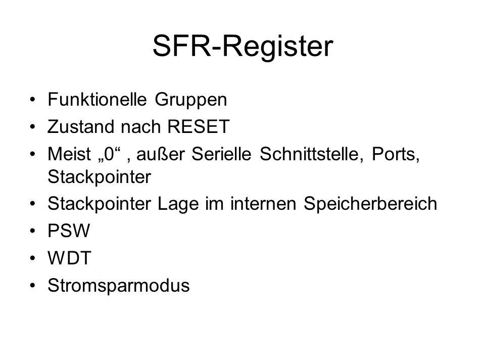 SFR-Register Funktionelle Gruppen Zustand nach RESET Meist 0, außer Serielle Schnittstelle, Ports, Stackpointer Stackpointer Lage im internen Speicher