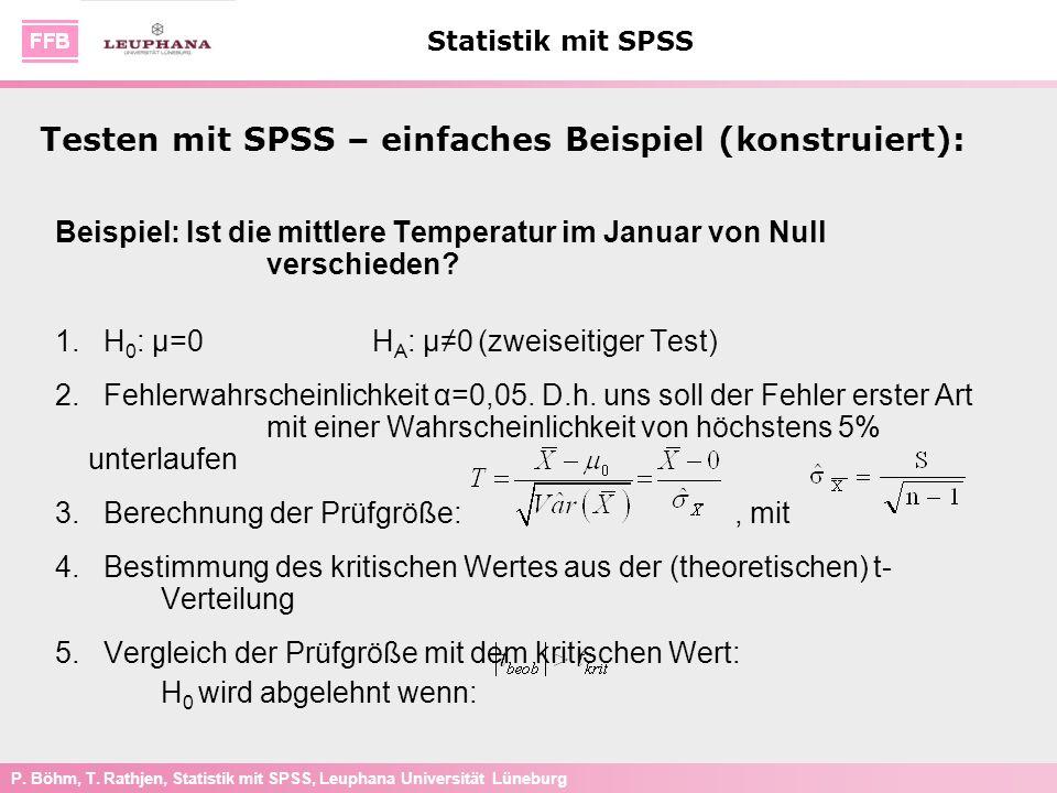 P. Böhm, T. Rathjen, Statistik mit SPSS, Leuphana Universität Lüneburg Statistik mit SPSS Beispiel: Ist die mittlere Temperatur im Januar von Null ver