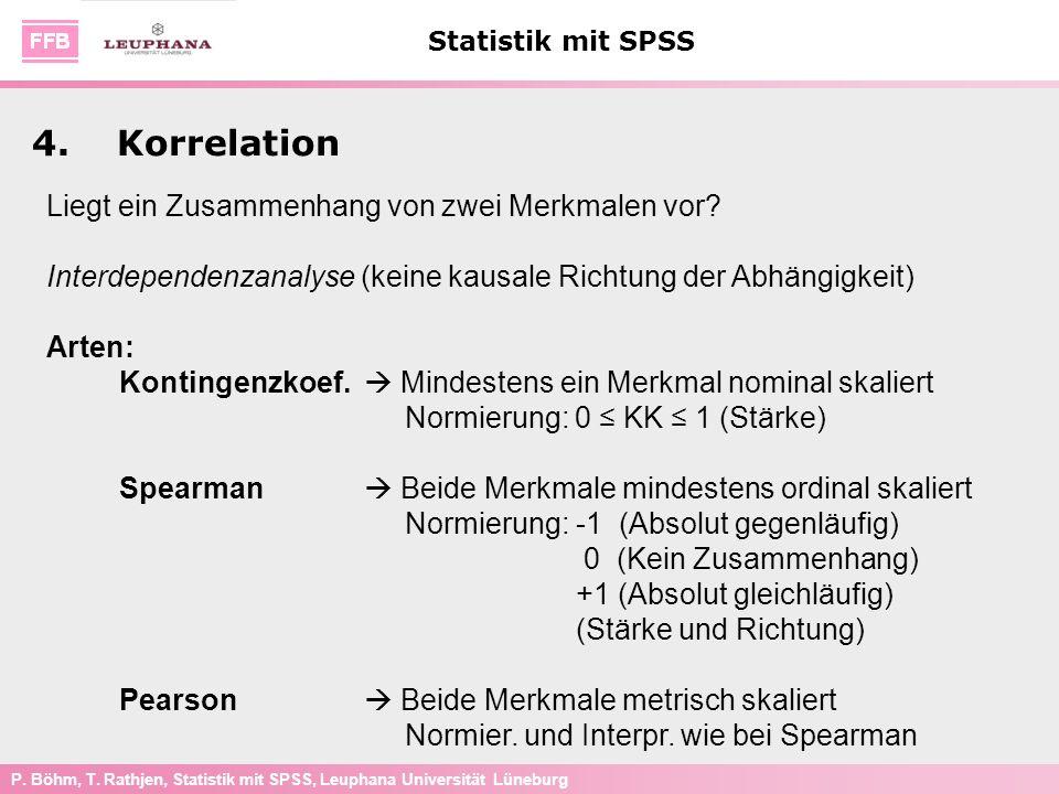 P. Böhm, T. Rathjen, Statistik mit SPSS, Leuphana Universität Lüneburg Statistik mit SPSS Liegt ein Zusammenhang von zwei Merkmalen vor? Interdependen