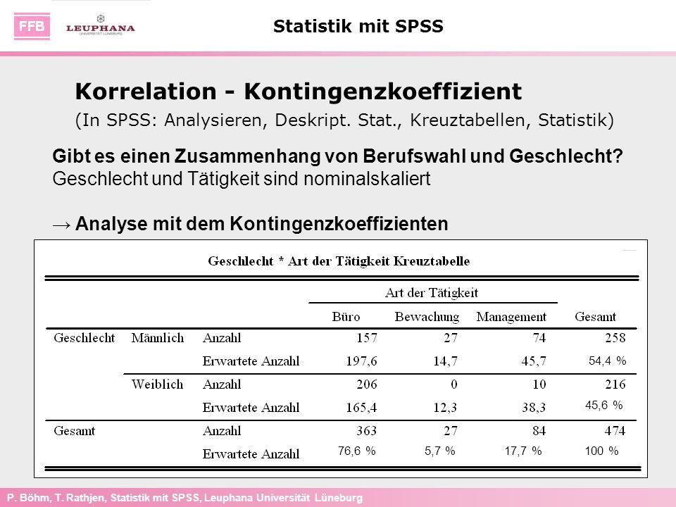 P. Böhm, T. Rathjen, Statistik mit SPSS, Leuphana Universität Lüneburg Statistik mit SPSS Gibt es einen Zusammenhang von Berufswahl und Geschlecht? Ge