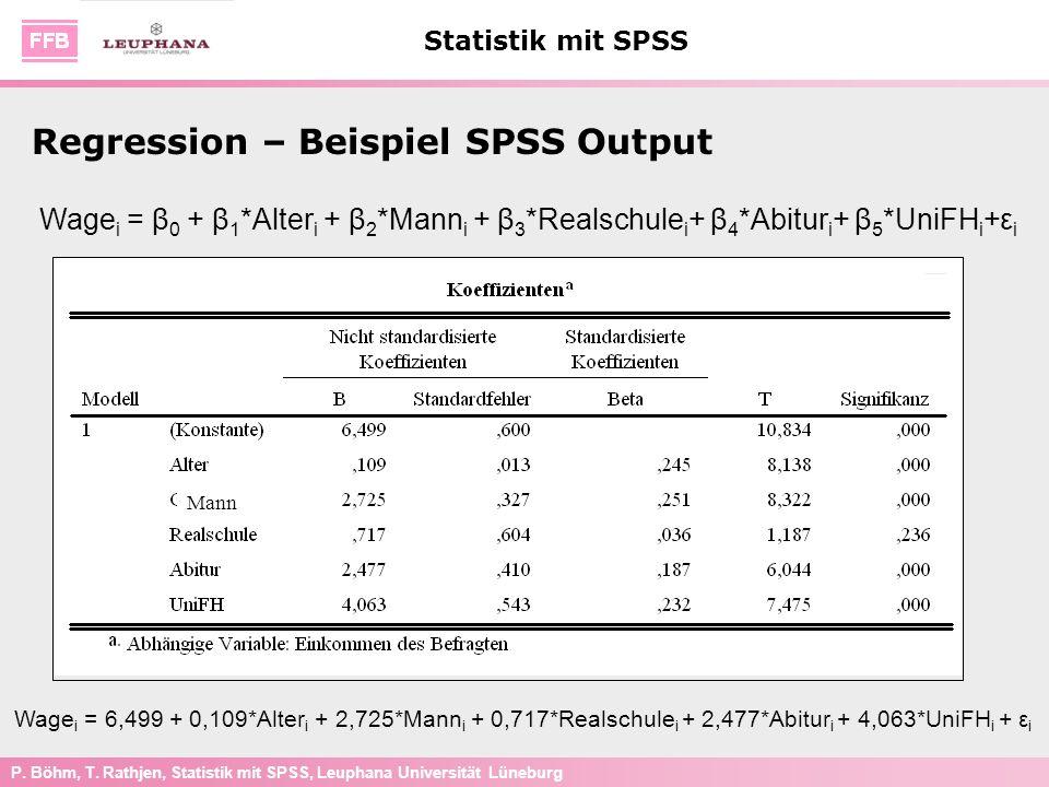 P. Böhm, T. Rathjen, Statistik mit SPSS, Leuphana Universität Lüneburg Statistik mit SPSS Wage i = β 0 + β 1 *Alter i + β 2 *Mann i + β 3 *Realschule