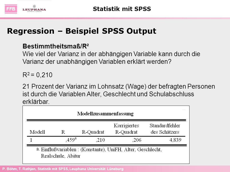 P. Böhm, T. Rathjen, Statistik mit SPSS, Leuphana Universität Lüneburg Statistik mit SPSS Bestimmtheitsmaß/R² Wie viel der Varianz in der abhängigen V