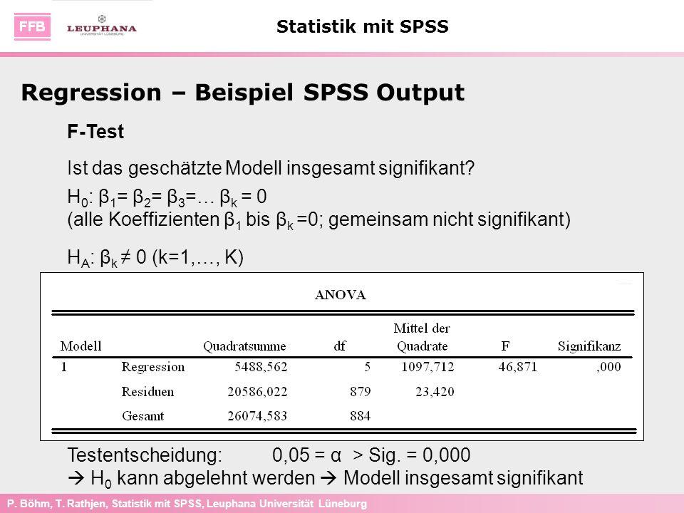 P. Böhm, T. Rathjen, Statistik mit SPSS, Leuphana Universität Lüneburg Statistik mit SPSS F-Test Ist das geschätzte Modell insgesamt signifikant? H 0