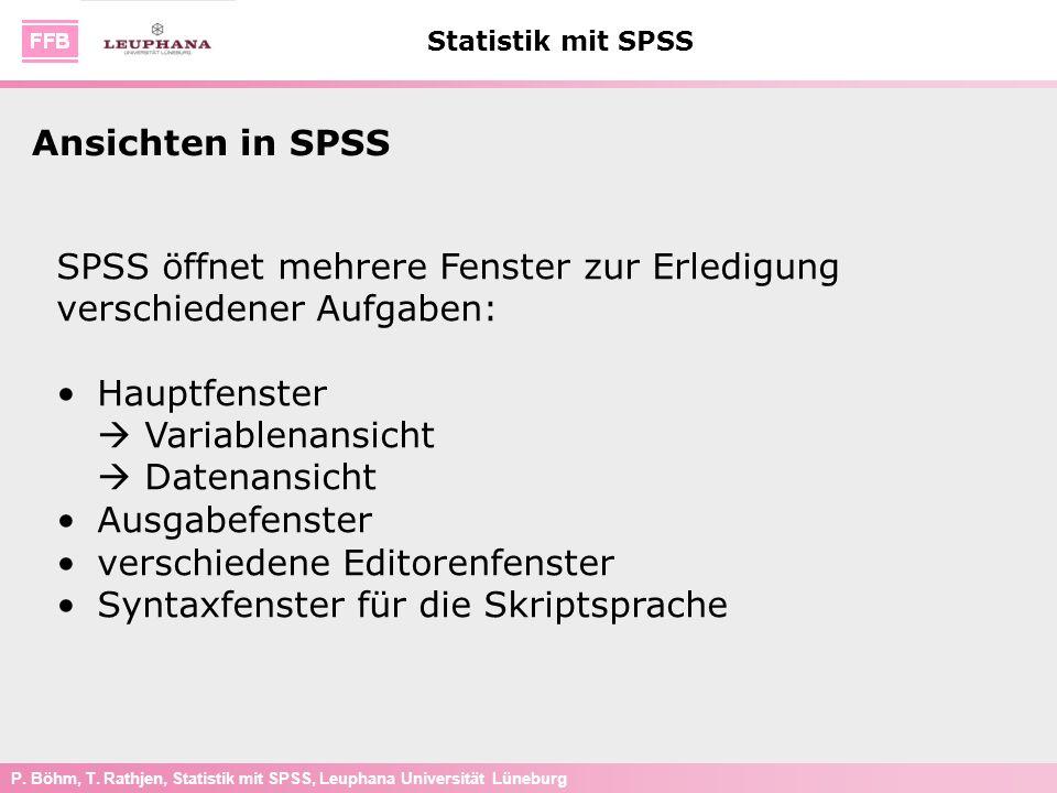 P. Böhm, T. Rathjen, Statistik mit SPSS, Leuphana Universität Lüneburg Statistik mit SPSS Ansichten in SPSS SPSS öffnet mehrere Fenster zur Erledigung