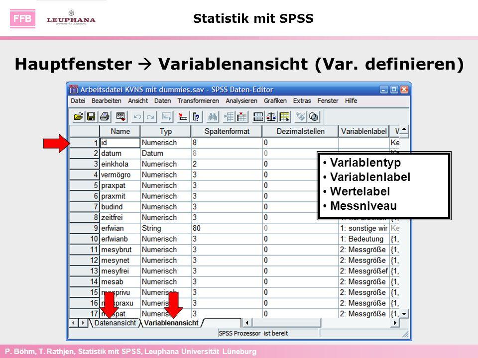 P. Böhm, T. Rathjen, Statistik mit SPSS, Leuphana Universität Lüneburg Statistik mit SPSS Hauptfenster Variablenansicht (Var. definieren) Variablentyp